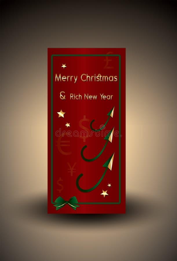 Κάρτα Χριστουγέννων τράπεζας με τα χρήματα και τα χρυσά αστέρια στοκ φωτογραφία