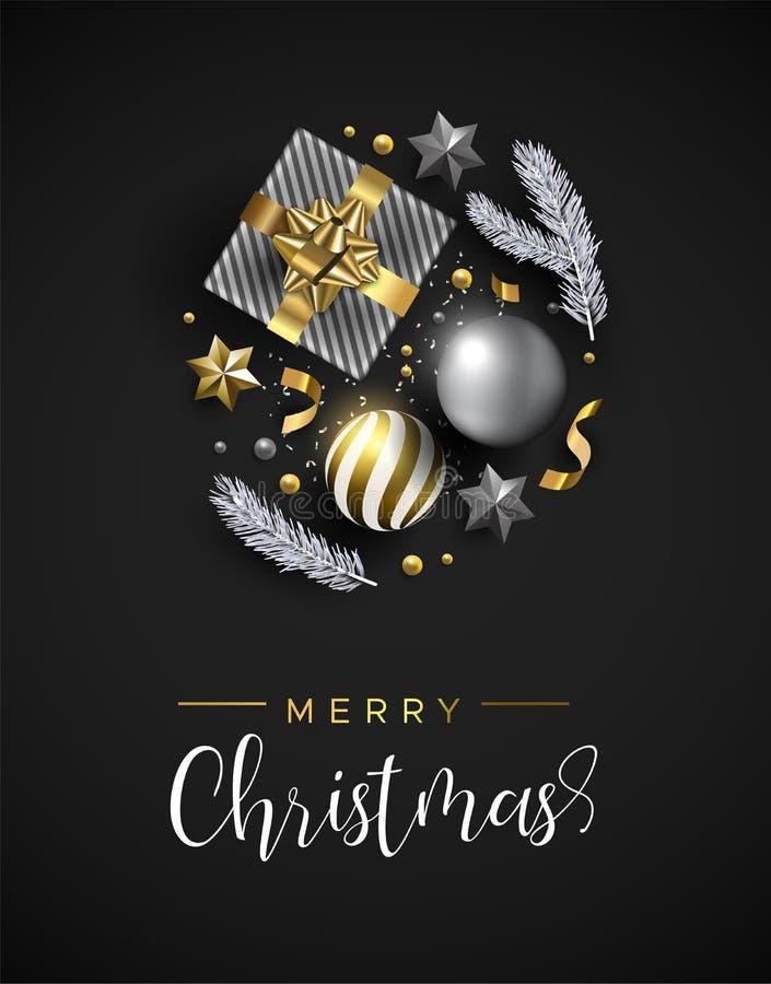 Κάρτα Χριστουγέννων των διακοσμήσεων Χριστουγέννων δώρων και χειμώνα ελεύθερη απεικόνιση δικαιώματος