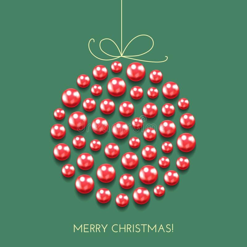 Κάρτα Χριστουγέννων χαιρετισμού με τη σφαίρα ντεκόρ και το έμβλημα διακοπών διανυσματική απεικόνιση