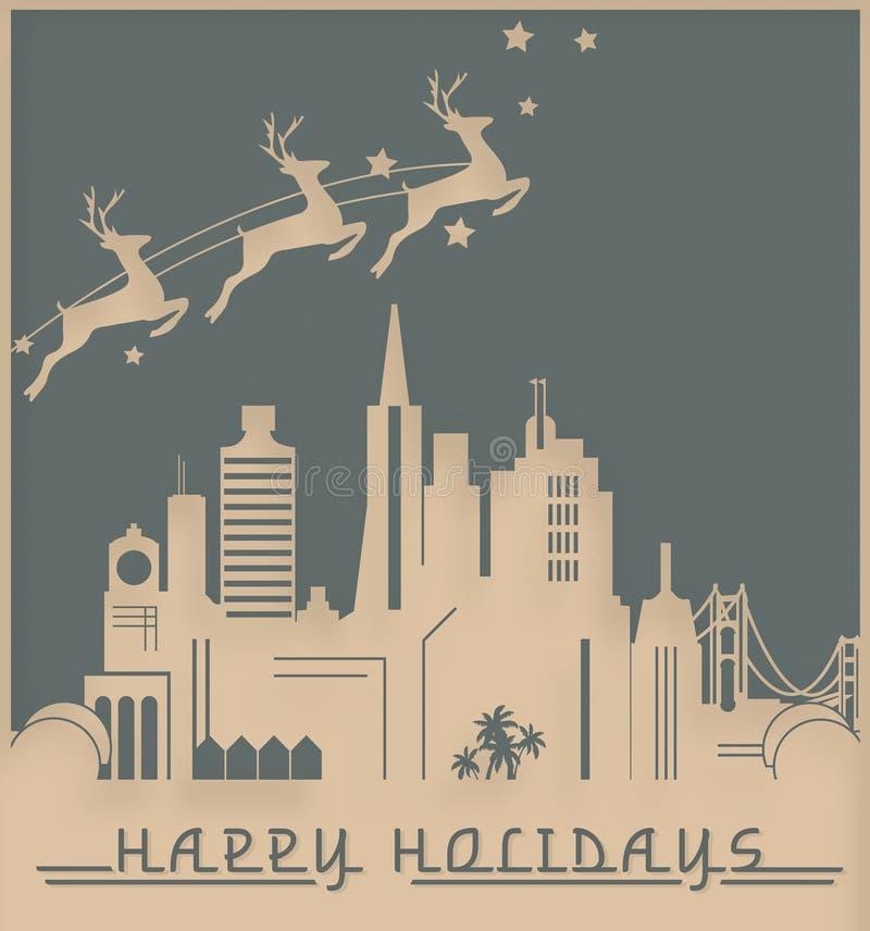 Κάρτα Χριστουγέννων Art Deco του Σαν Φρανσίσκο ελεύθερη απεικόνιση δικαιώματος
