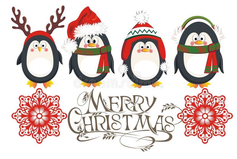 Κάρτα Χριστουγέννων penguins διανυσματική απεικόνιση