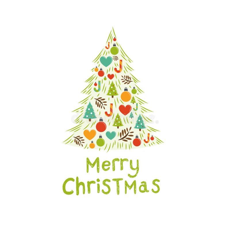 Κάρτα χριστουγεννιάτικων δέντρων διανυσματική απεικόνιση