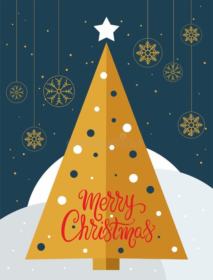 Κάρτα χριστουγεννιάτικων δέντρων με τις χρυσές snowflakes σφαίρες - διάνυσμα ελεύθερη απεικόνιση δικαιώματος