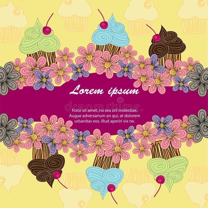 Κάρτα χρώματος των ζωηρόχρωμων cupcakes σε ένα ρόδινο υπόβαθρο διανυσματική απεικόνιση
