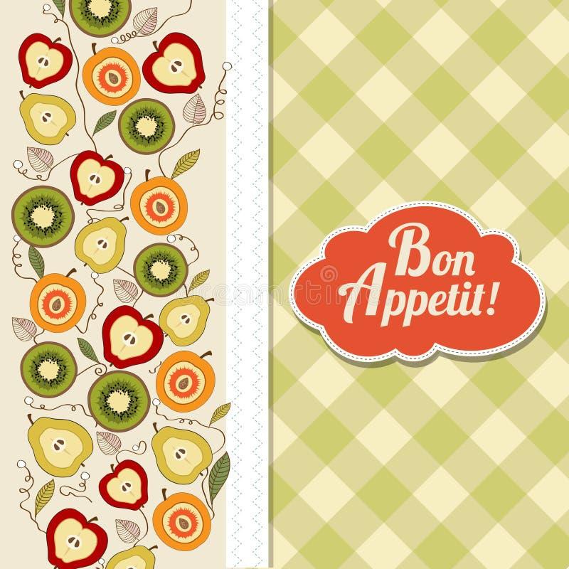 Κάρτα όρεξης Bon με τα φρούτα διανυσματική απεικόνιση