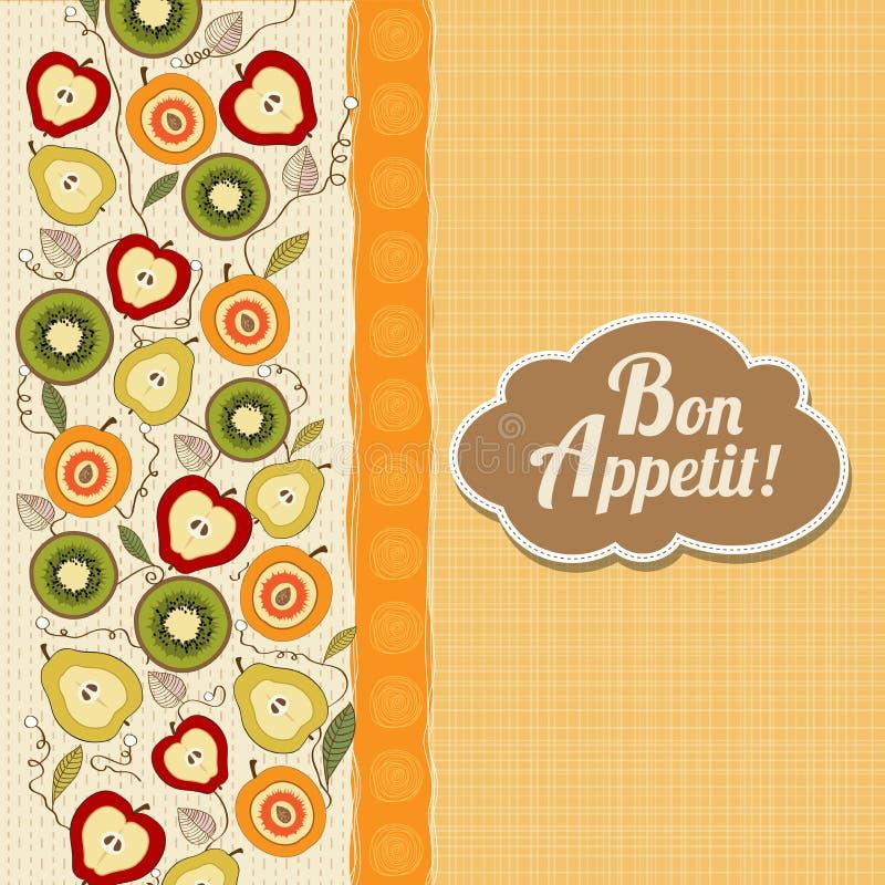 Κάρτα όρεξης Bon με τα φρούτα ελεύθερη απεικόνιση δικαιώματος