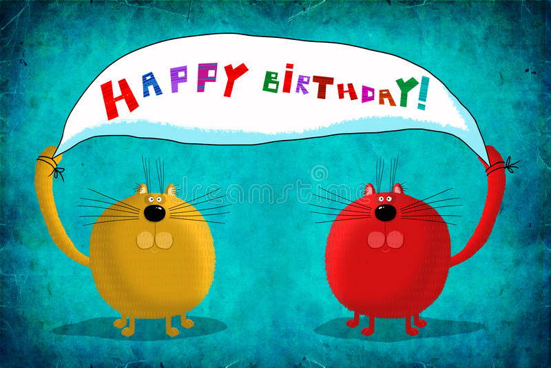 Κάρτα δύο γενεθλίων αφίσσα χαιρετισμών εκμετάλλευσης γατών διανυσματική απεικόνιση