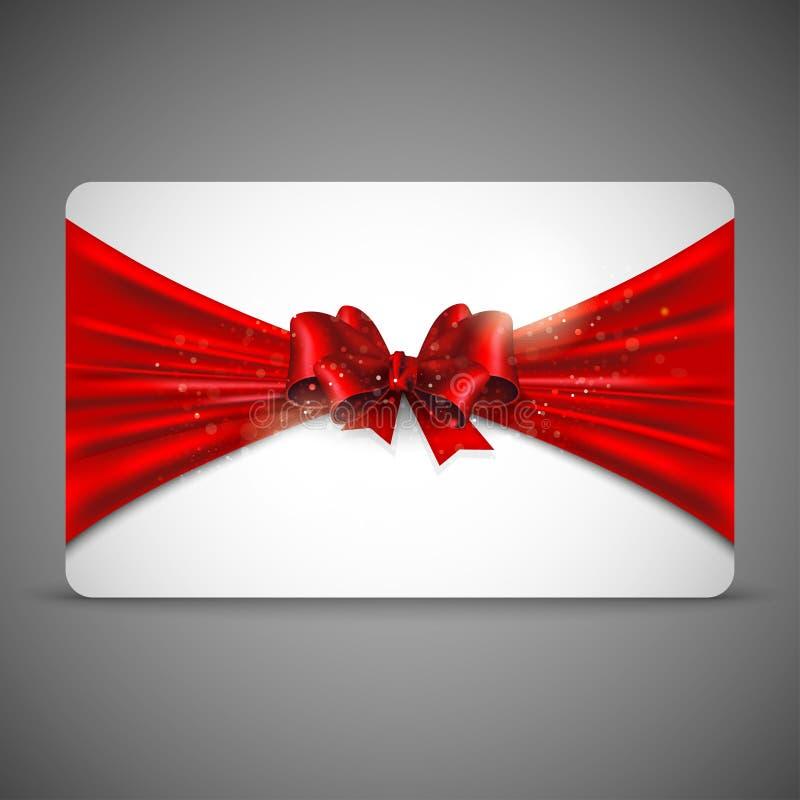 Κάρτα δώρων με το κόκκινο τόξο διανυσματική απεικόνιση