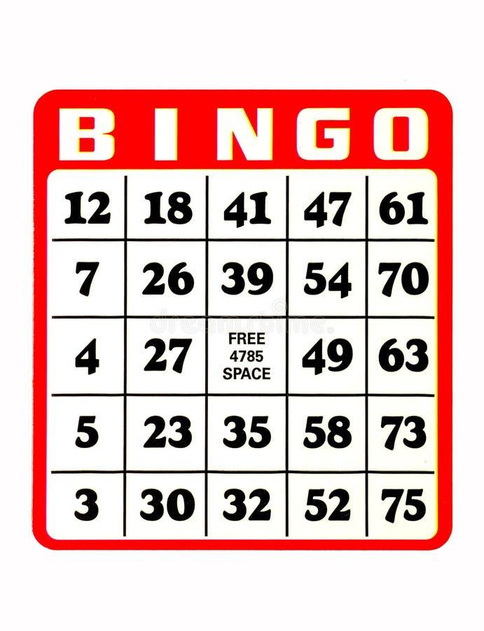 κάρτα bingo στοκ εικόνα με δικαίωμα ελεύθερης χρήσης