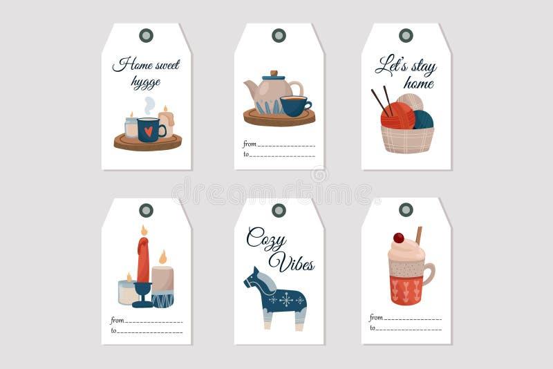 Κάρτα Hygge Gift Σχεδίαση επίπεδης εκτύπωσης με κινούμενα σχέδια απεικόνιση αποθεμάτων