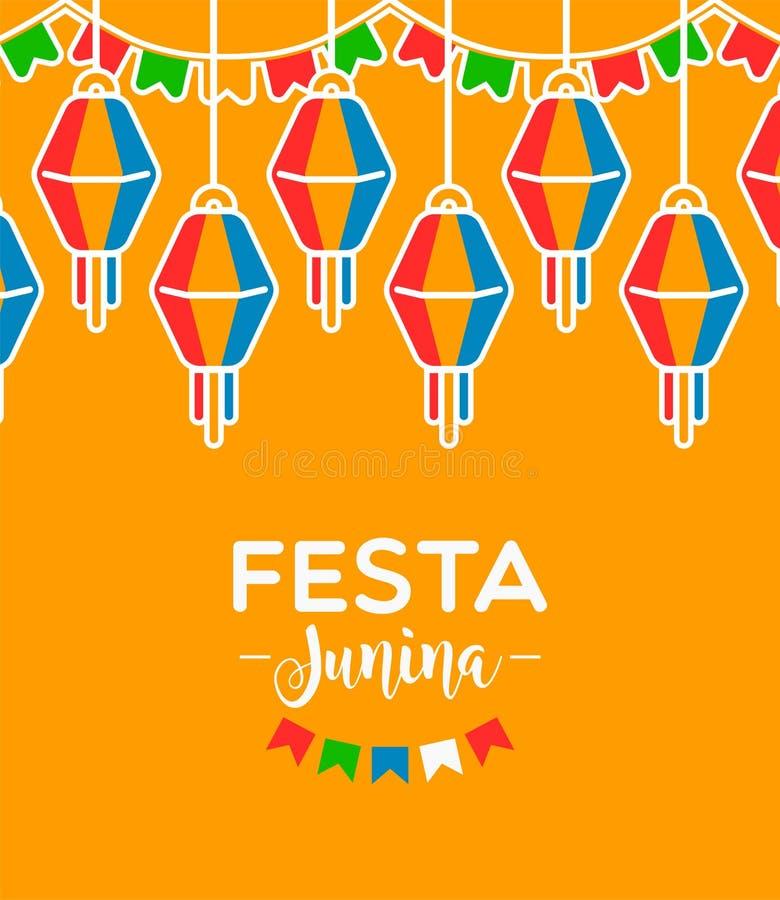 Κάρτα Junina Festa των ζωηρόχρωμων μπαλονιών κομμάτων διανυσματική απεικόνιση