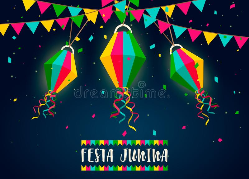 Κάρτα Junina Festa των μπαλονιών εγγράφου τη νύχτα διανυσματική απεικόνιση