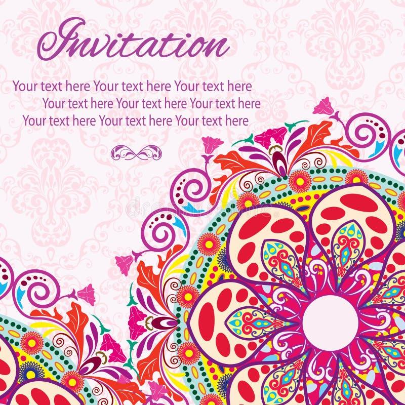 Κάρτα Mandala πρόσκλησης στοκ εικόνα