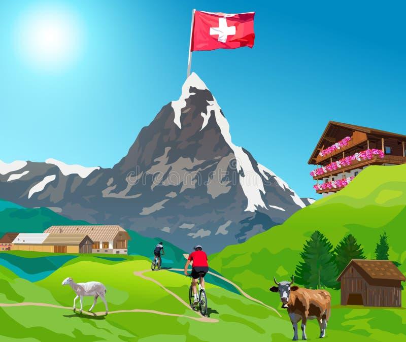 Κάρτα Matterhorn Άλπεων διανυσματική απεικόνιση