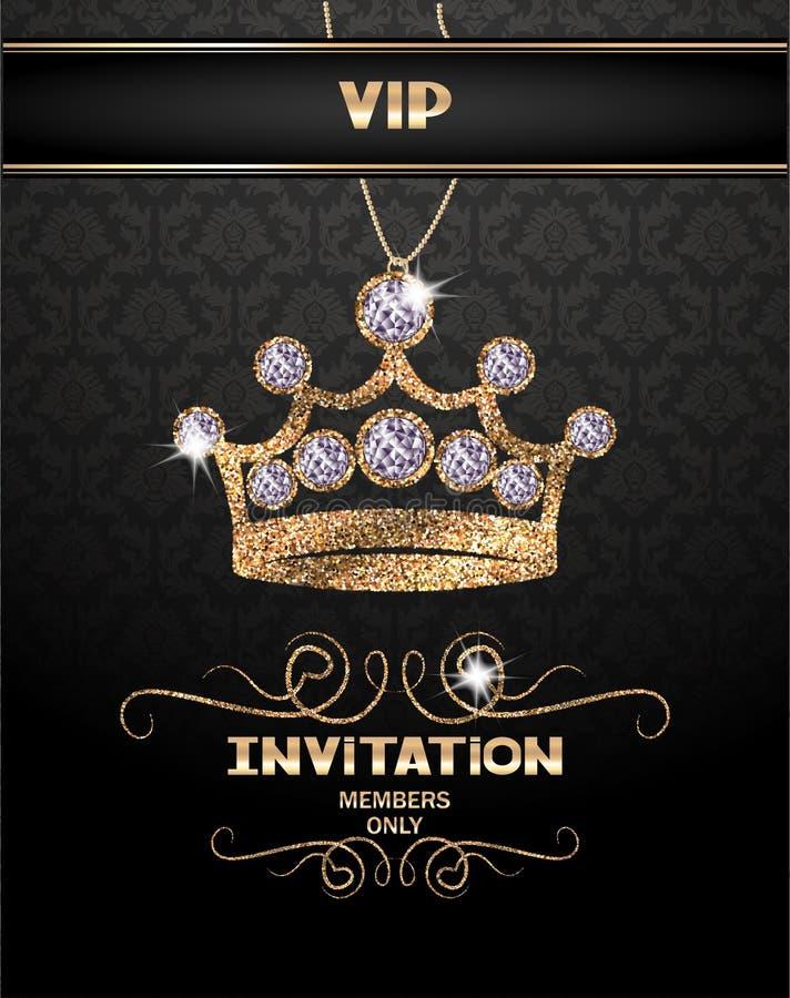 Κάρτα VIP πρόσκλησης με την αφηρημένη λαμπιρίζοντας κορώνα με τα διαμάντια διανυσματική απεικόνιση