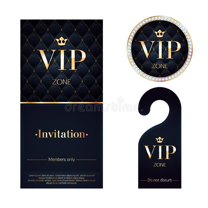 Κάρτα VIP πρόσκλησης, προειδοποιώντας κρεμάστρα και διακριτικό απεικόνιση αποθεμάτων