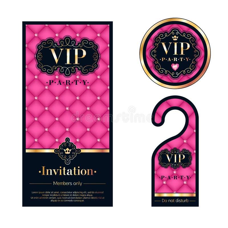 Κάρτα VIP πρόσκλησης, προειδοποιώντας κρεμάστρα και διακριτικό διανυσματική απεικόνιση