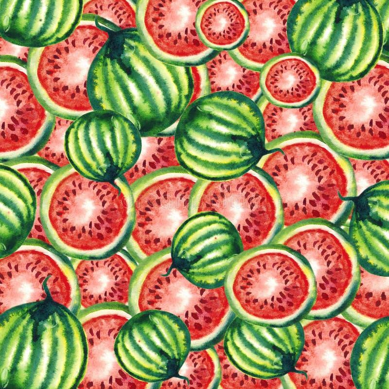 Κάρτα Watercolor, πρόσκληση, που ταξινομείται, διαφήμιση Με το σχέδιο - φέτες καρπουζιών φρούτων, κόκκινο και πράσινος ?? ?? ? διανυσματική απεικόνιση