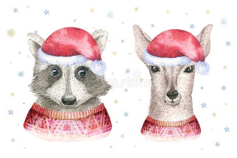 Κάρτα watercolor Χαρούμενα Χριστούγεννας με τα deerfloral στοιχεία ρακούν και μωρών Γράφοντας αφίσες καλής χρονιάς fawn Χειμώνας ελεύθερη απεικόνιση δικαιώματος