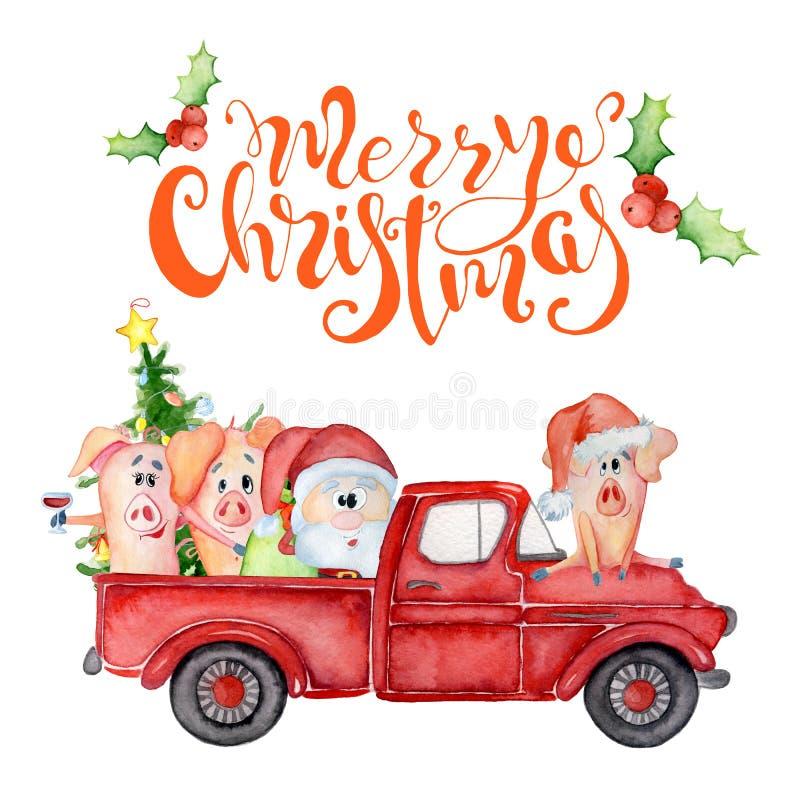Κάρτα watercolor Χαρούμενα Χριστούγεννας με το κόκκινους φορτηγό, τους χοίρους και Santa Συρμένο χέρι απόσπασμα εγγραφής απεικόνιση αποθεμάτων