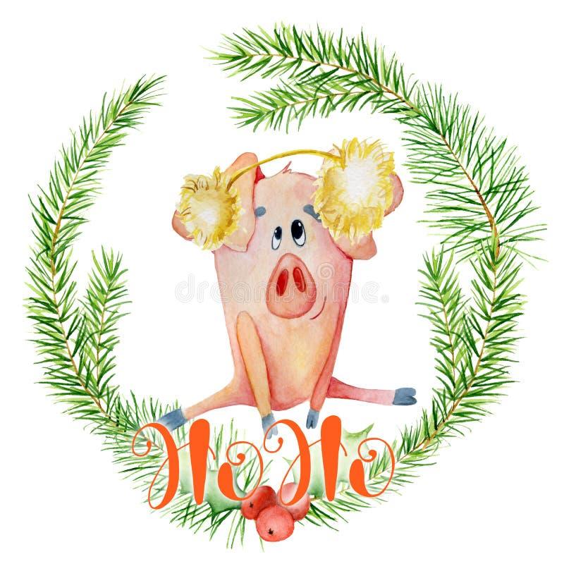 Κάρτα watercolor Χαρούμενα Χριστούγεννας με το χαριτωμένο αστείο χοίρο στο στεφάνι και το απόσπασμα Ho Ho κλάδων πεύκων εγγραφής στοκ φωτογραφία με δικαίωμα ελεύθερης χρήσης