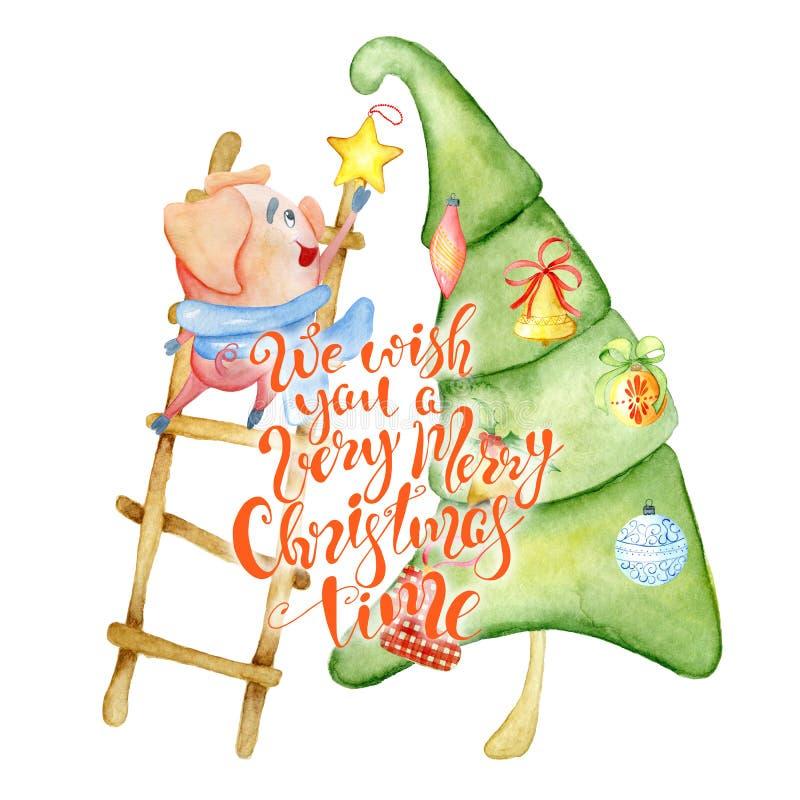 Κάρτα watercolor Χαρούμενα Χριστούγεννας με το χαριτωμένο αστείο χοίρο, το δέντρο πεύκων και το απόσπασμα εγγραφής στοκ εικόνα με δικαίωμα ελεύθερης χρήσης