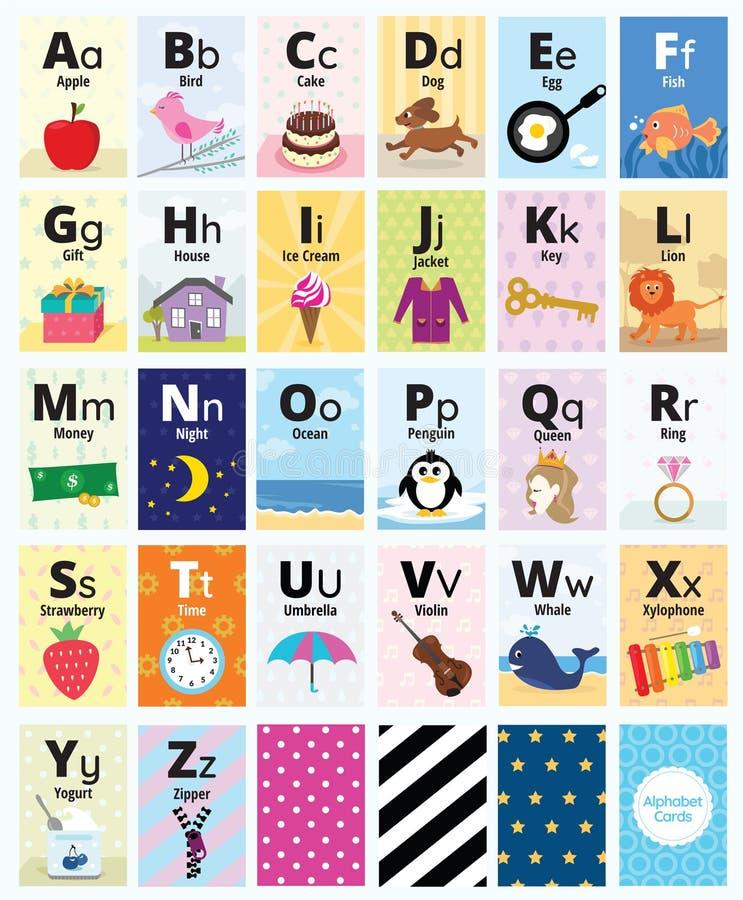 Κάρτες αλφάβητου για τη διδασκαλία και την εκπαίδευση διανυσματική απεικόνιση