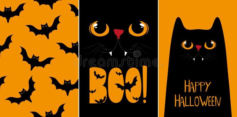 Κάρτες αποκριών καθορισμένες, διανυσματικές απεικονίσεις με τη μαύρη γάτα ελεύθερη απεικόνιση δικαιώματος