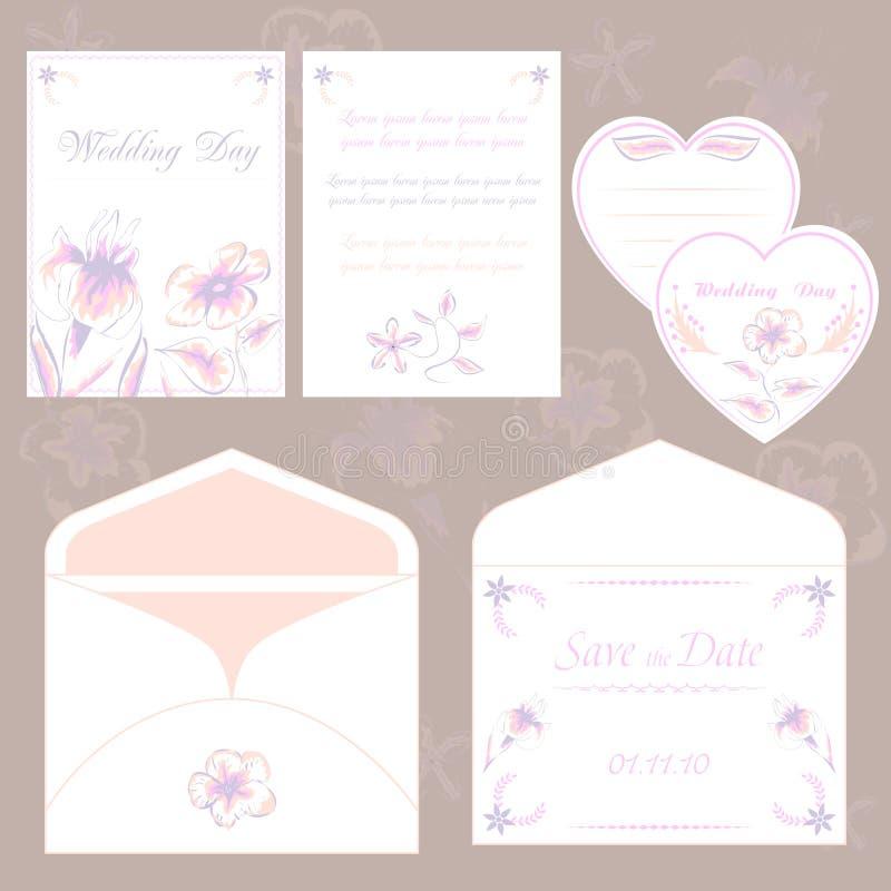 Κάρτες γαμήλιας πρόσκλησης και φάκελος, γαμήλια καθορισμένη κομψή χλωρίδα διανυσματική απεικόνιση