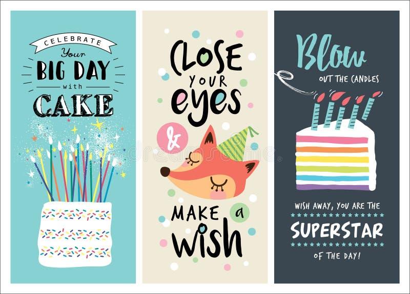 Κάρτες γενεθλίων διανυσματική απεικόνιση