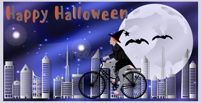 Κάρτες για ευτυχείς αποκριές Η μάγισσα που οδηγά ένα ποδήλατο, που ακολουθείται με το πέταγμα κτυπά το πέταγμα πέρα από την πόλη  ελεύθερη απεικόνιση δικαιώματος