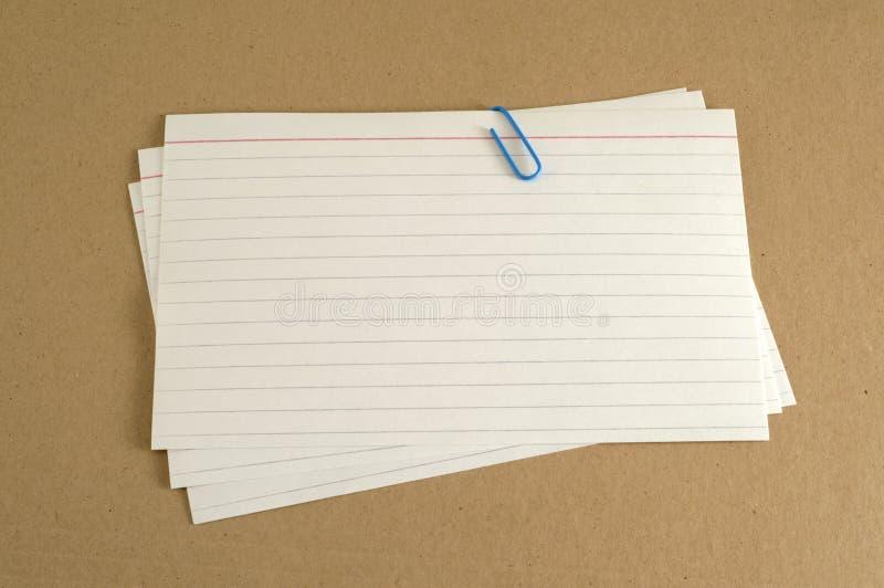 Κάρτες δεικτών στο φάκελλο στοκ εικόνες