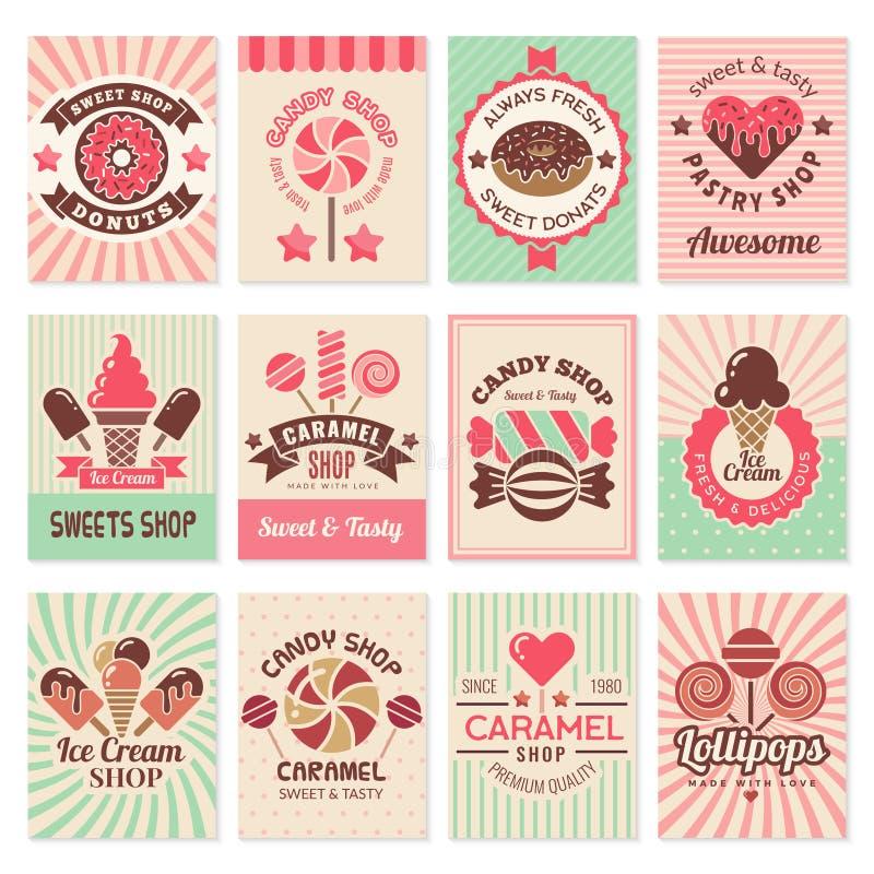 Κάρτες καταστημάτων καραμελών Γλυκά σύμβολα βιομηχανιών ζαχαρωδών προϊόντων επιδορπίων τροφίμων για τη διανυσματική συλλογή ιπτάμ διανυσματική απεικόνιση