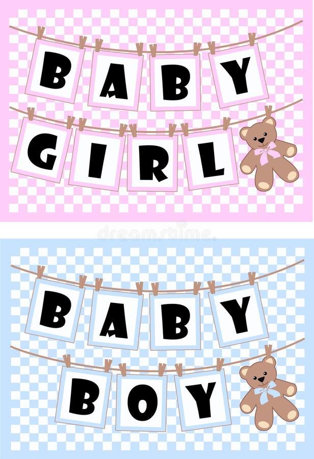 κάρτες μωρών νεογέννητες διανυσματική απεικόνιση