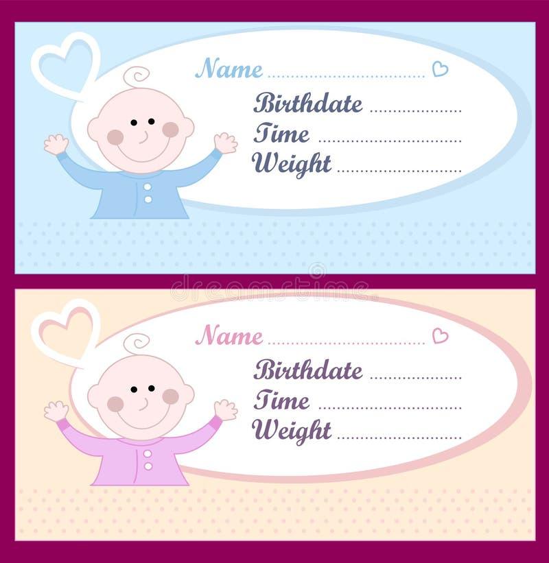 κάρτες μωρών νεογέννητες απεικόνιση αποθεμάτων