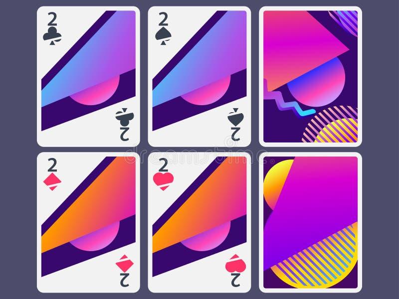 Κάρτες παιχνιδιού στο σύγχρονο ύφος Μορφές κλίσης, γεωμετρικά αντικείμενα Η αντίστροφη πλευρά της κάρτας παιχνιδιού διάνυσμα απεικόνιση αποθεμάτων