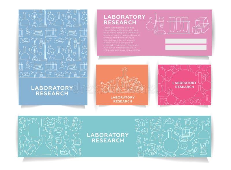 Κάρτες πληροφοριών επιστήμης καθορισμένες εργαστηριακό πρότυπο flyear, περιοδικά, αφίσες, κάλυψη βιβλίων, εμβλήματα Χημεία infogr διανυσματική απεικόνιση