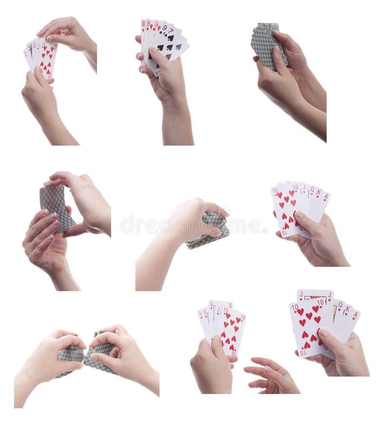 κάρτες που κρατούν την παίζοντας καθορισμένη γυναίκα στοκ εικόνες με δικαίωμα ελεύθερης χρήσης