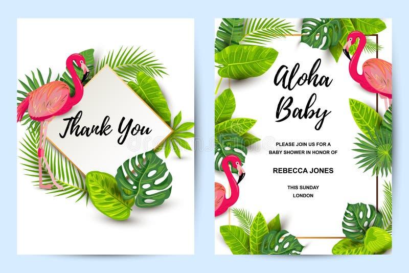 Κάρτες πρόσκλησης που τίθενται με το ρόδινο φλαμίγκο και τα τροπικά φύλλα απεικόνιση αποθεμάτων