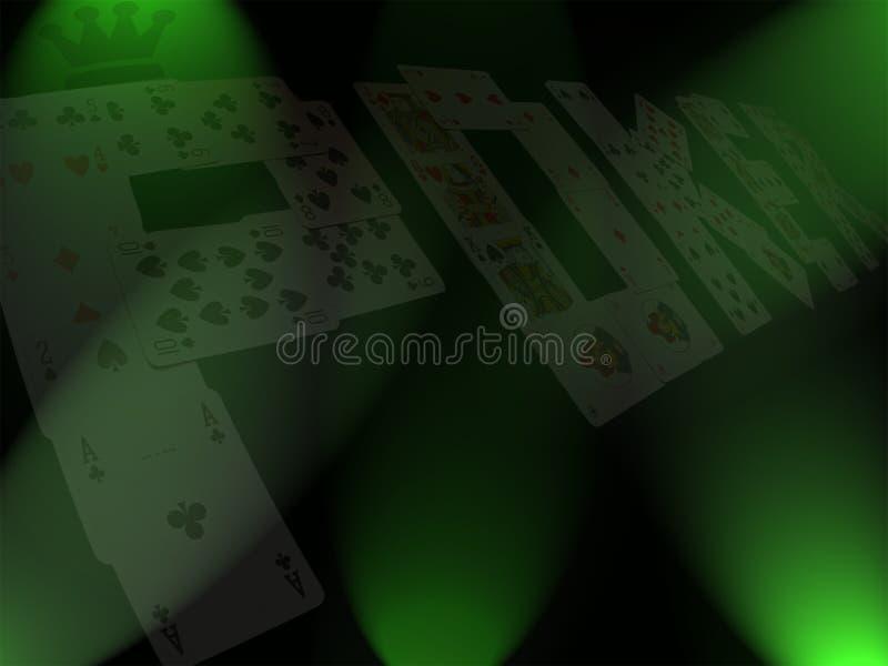 Κάρτες πόκερ με την κορώνα και το πράσινο υπόβαθρο στοκ φωτογραφίες με δικαίωμα ελεύθερης χρήσης