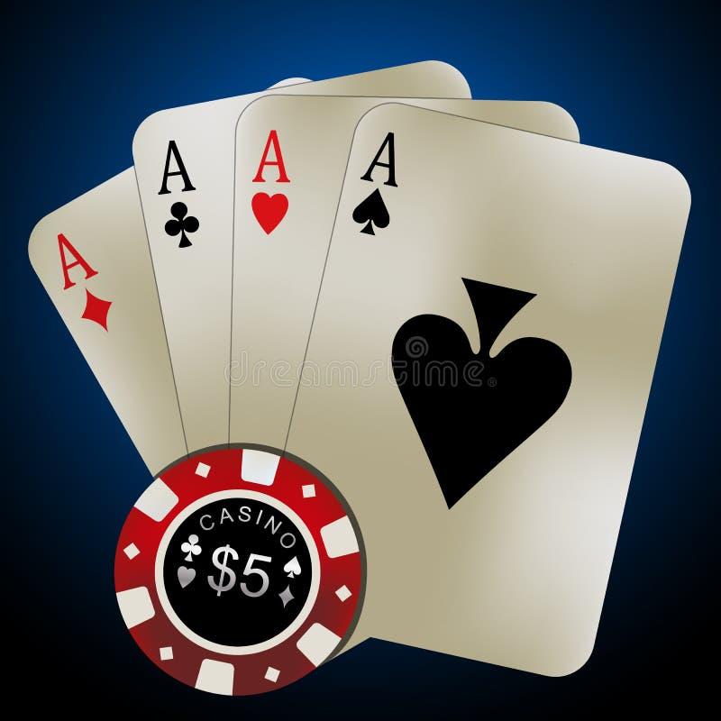 Κάρτες πόκερ - τέσσερις άσσοι και τσιπ στοκ εικόνες με δικαίωμα ελεύθερης χρήσης