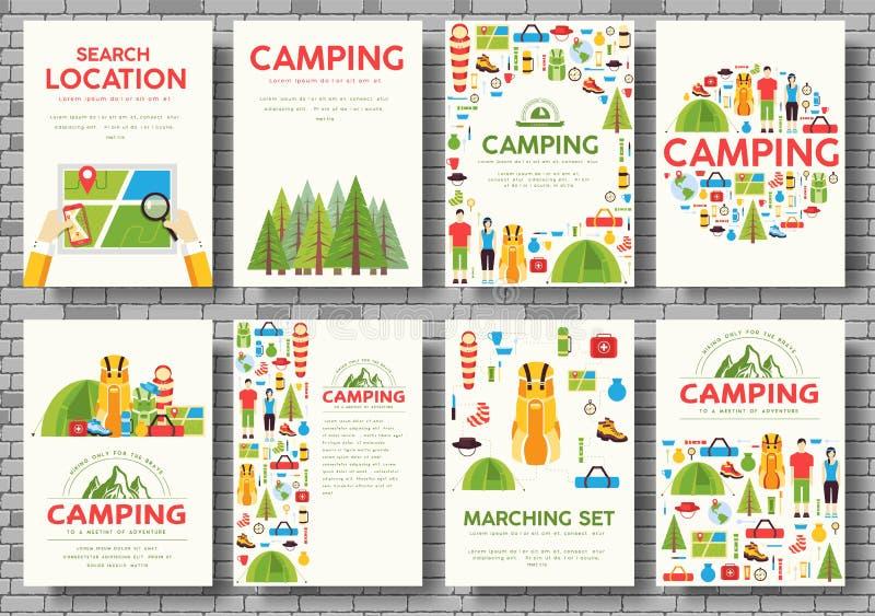 Κάρτες ταξιδιού στρατοπέδευσης καθορισμένες Πρότυπο πεζοπορίας flyear, περιοδικά, αφίσες, κάλυψη βιβλίων, εμβλήματα Infographic έ στοκ φωτογραφίες με δικαίωμα ελεύθερης χρήσης