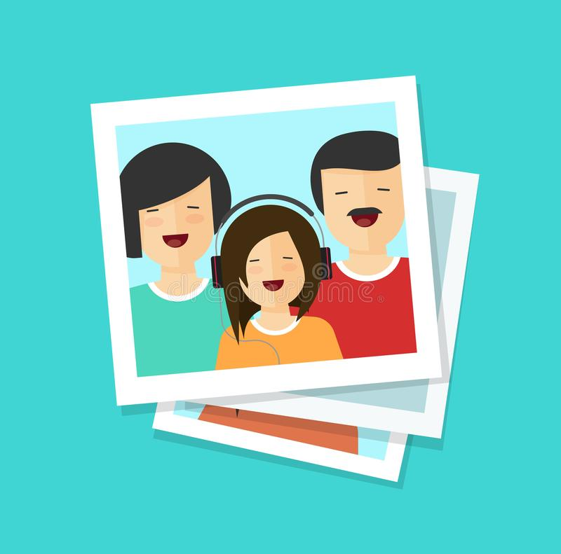 Κάρτες φωτογραφιών ή ευτυχής οικογενειακή διανυσματική απεικόνιση, επίπεδος φωτογραφίες ή άνδρας κινούμενων σχεδίων, γυναίκα και  διανυσματική απεικόνιση