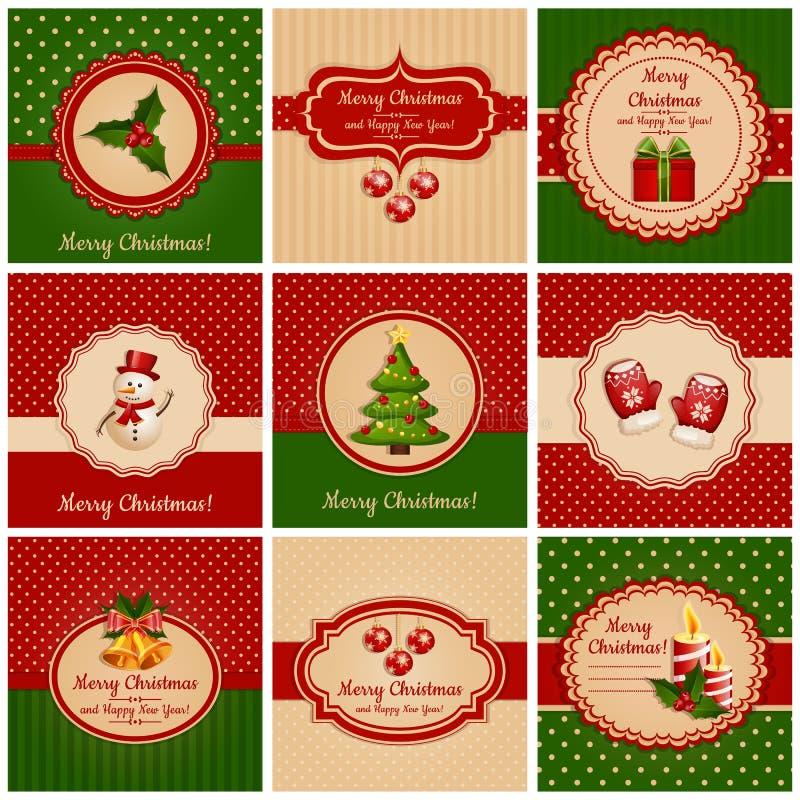 Κάρτες Χριστουγέννων. Διανυσματική απεικόνιση.