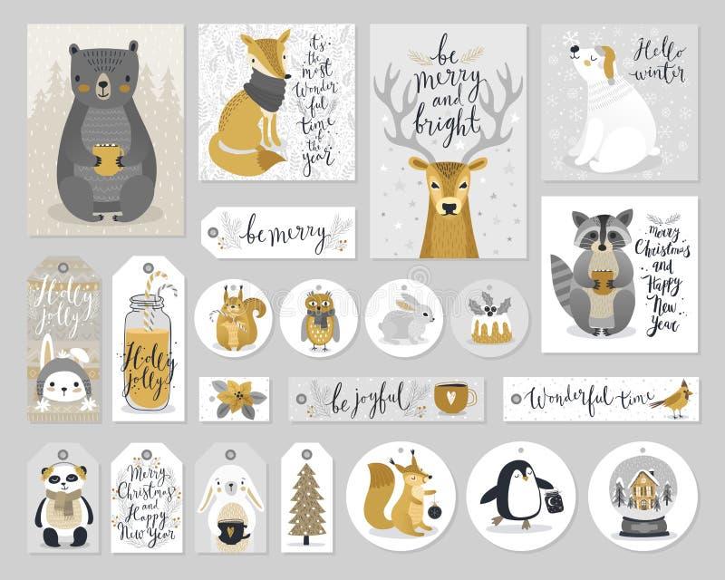 Κάρτες Χριστουγέννων και ετικέττες δώρων καθορισμένες, συρμένο χέρι ύφος ελεύθερη απεικόνιση δικαιώματος