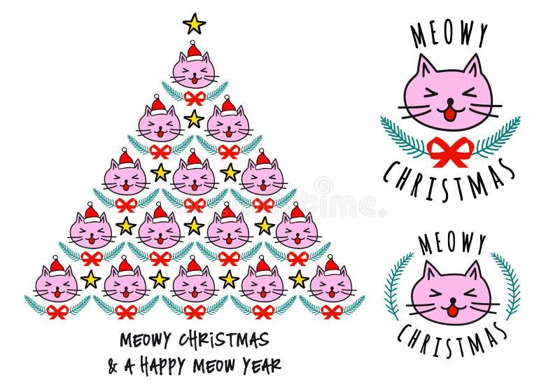 Κάρτες Χριστουγέννων με τις χαριτωμένες γάτες, διάνυσμα ελεύθερη απεικόνιση δικαιώματος