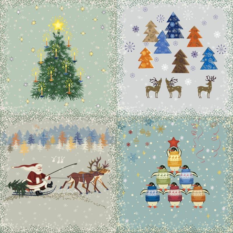 Κάρτες Χριστουγέννων διανυσματική απεικόνιση