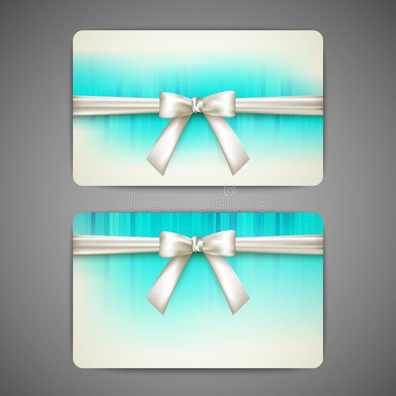 Κάρτες δώρων με τα άσπρες τόξα και τις κορδέλλες διανυσματική απεικόνιση
