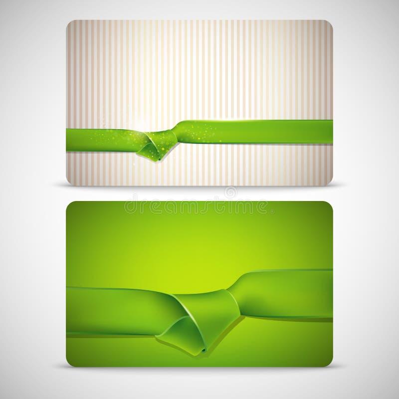 Σύνολο καρτών δώρων με τις πράσινες κορδέλλες ελεύθερη απεικόνιση δικαιώματος