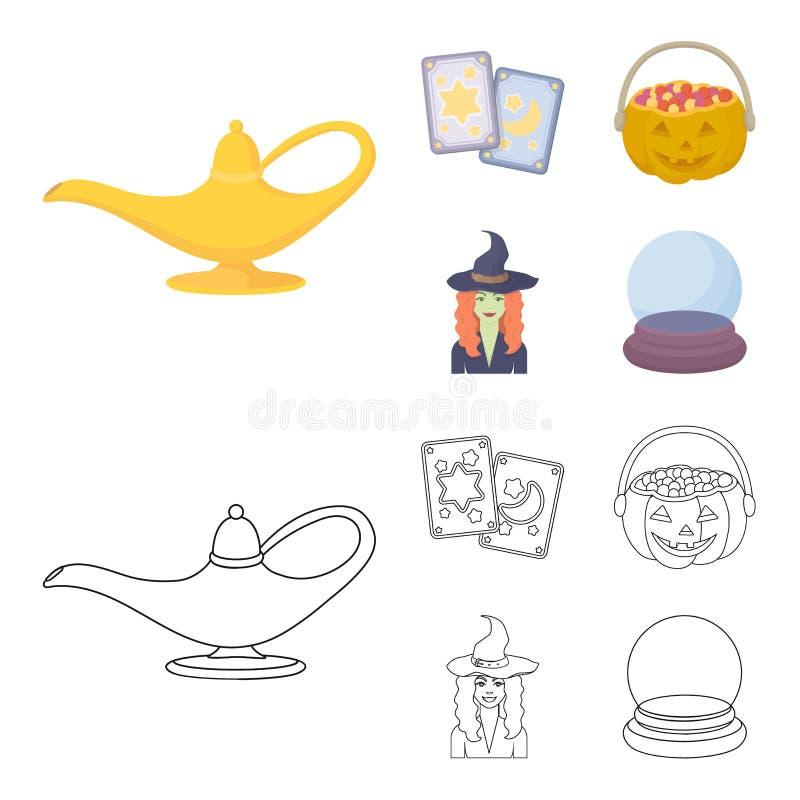 Κάρτες Tarot, διακοπές αποκριές, μάγος σε ένα καπέλο, σφαίρα κρυστάλλου Γραπτά μαγικά καθορισμένα εικονίδια συλλογής στα κινούμεν διανυσματική απεικόνιση